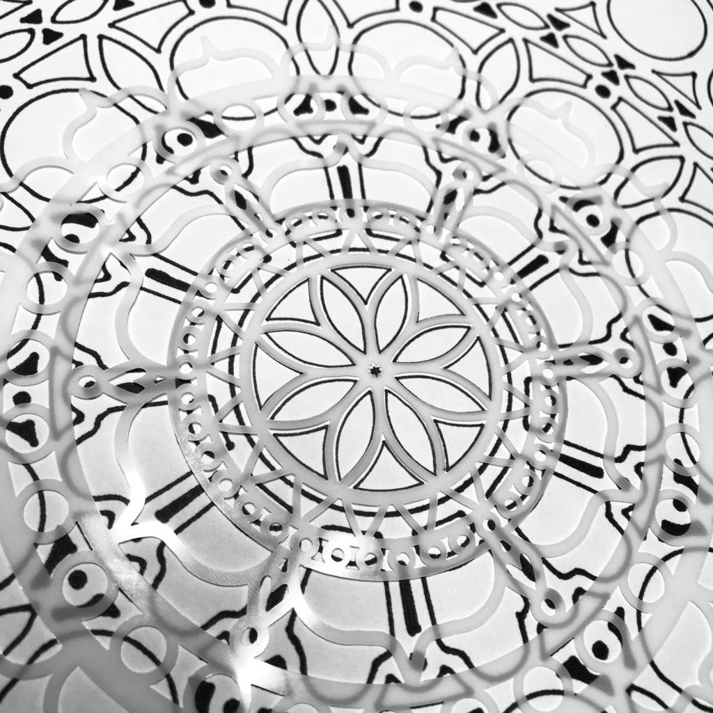 6x6 TCW461 Rosetta Stencil center through 12x12 TCW873 Orb Mandala Stencil center