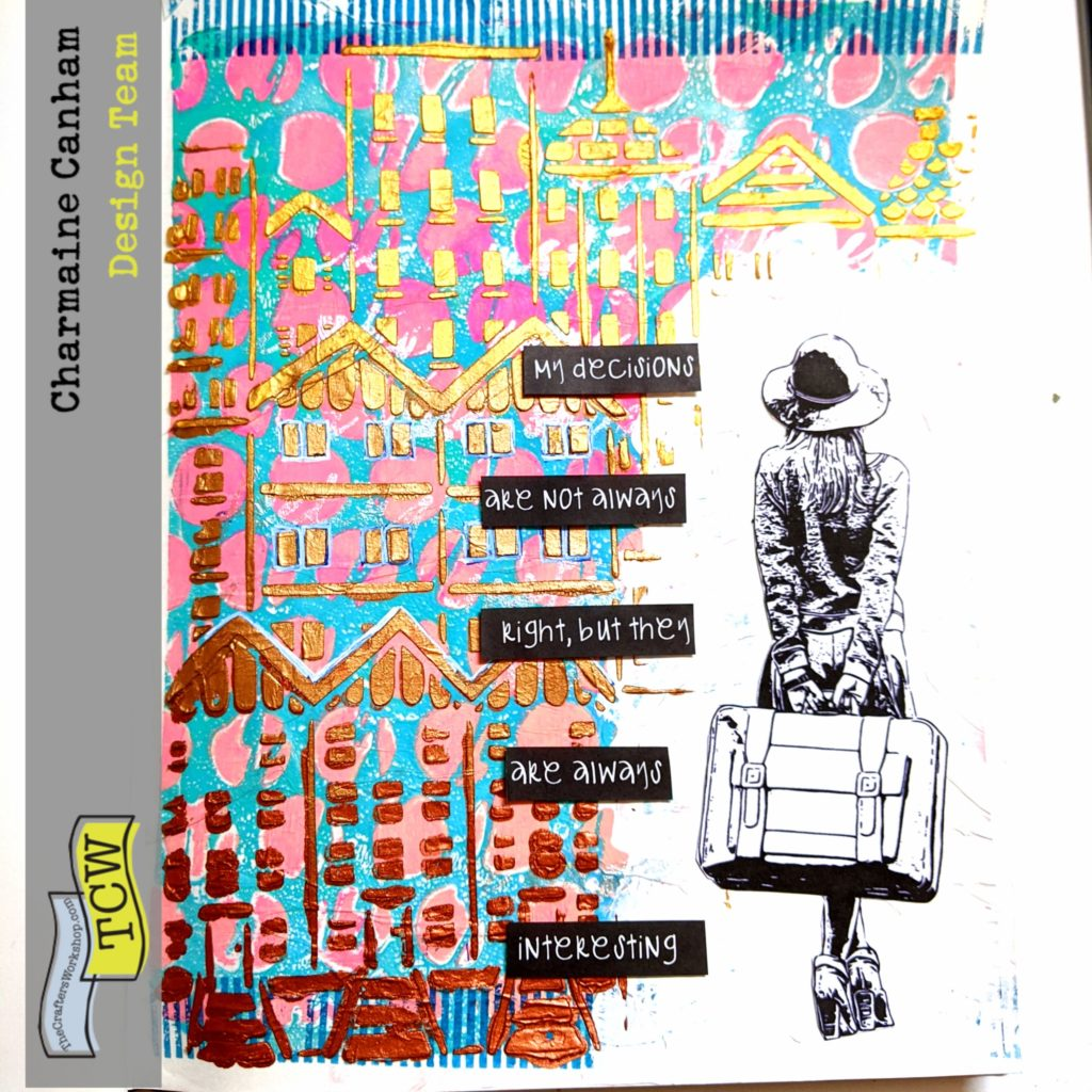 A journal entry that uses gesso, stencils, deli paper, stamps and dimension