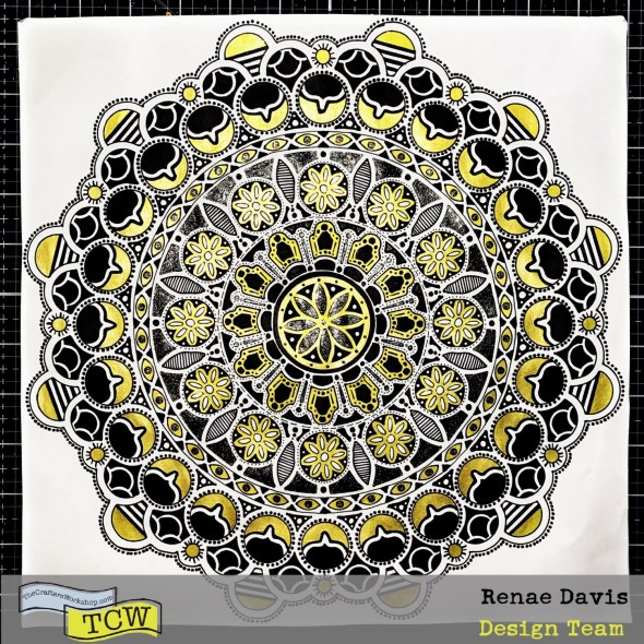 Glittering Gold Mandala Drawing Tutorial by Renae Davis