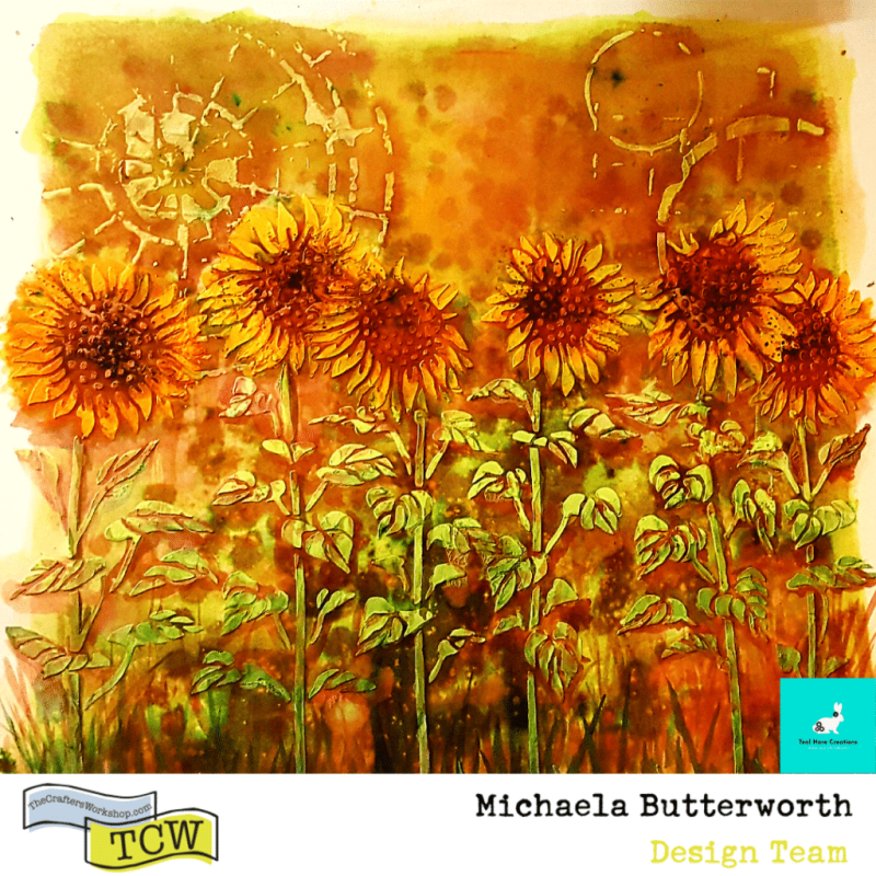 """Image of the 12"""" x 12"""" completed Sunflower Garden on mixed media board."""
