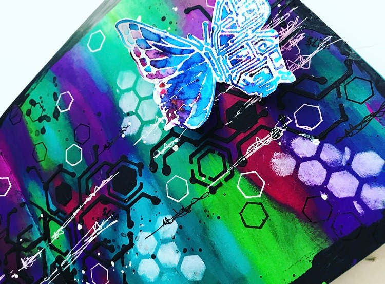 close up of butterfly art journal page