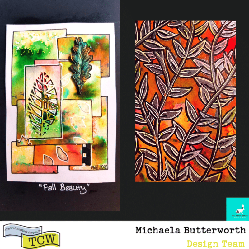 """Image showing two works. On the left side, a mini collage piece named """"Fall Beauty"""" is shown. On the right side, a partial image of the Mini Jungle Vines stencil page is shown."""