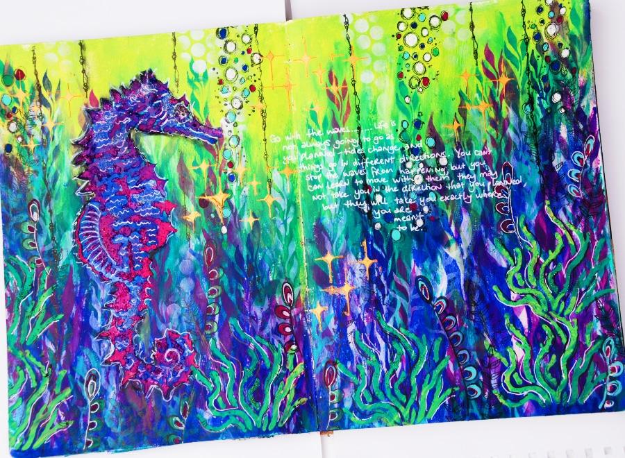 Under the ocean art journal page with seahorse #tcwstencillove Tammy Klingner