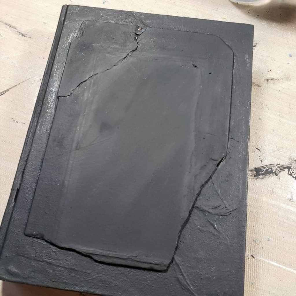 Found book already painted black but needs stencils