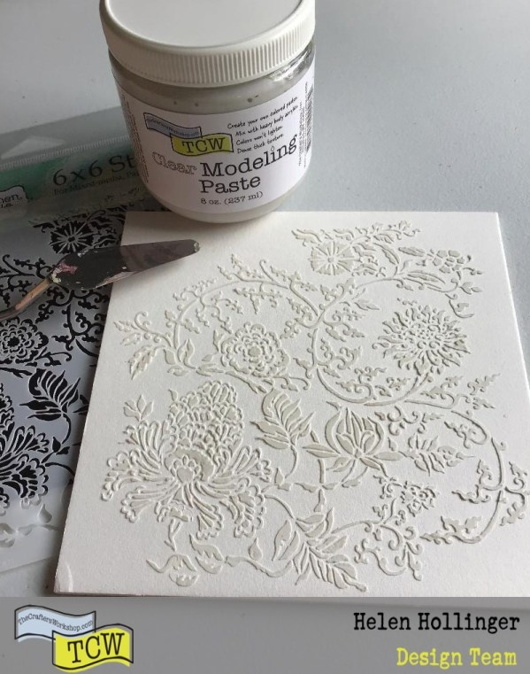 Using TCW865 Asian Floral stencil with TCW9008 clear modeling paste over the canvas.