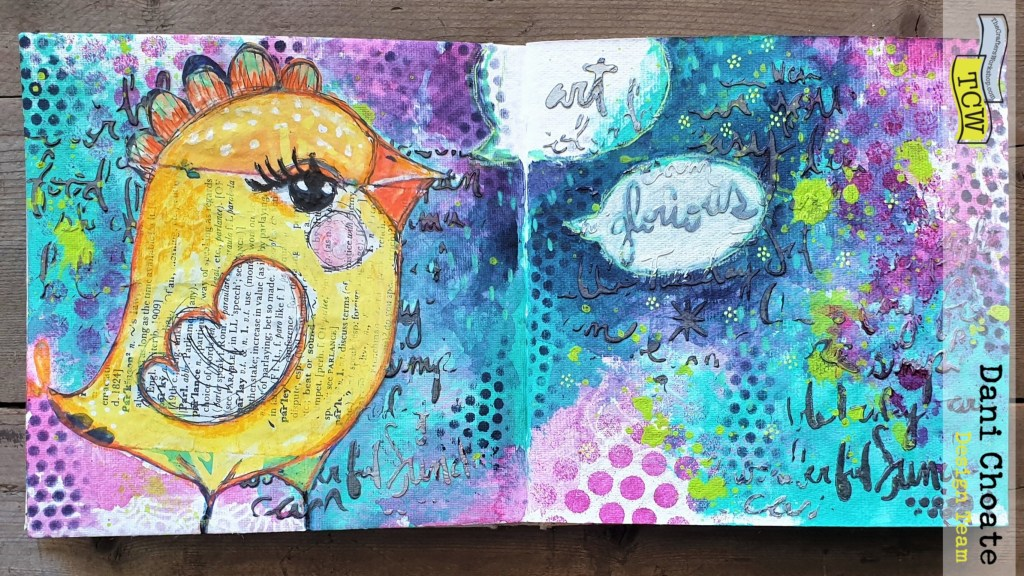 Art Chicken - stenciled journal page showing full page - using TCW855 Linked Tiles TCW886 Shaped Landscape TCW832 Script Words TCW Sweet Posey TCW9043 Marcasite Silver Modeling Paste TCW 90471 Platinum Modeling Paste