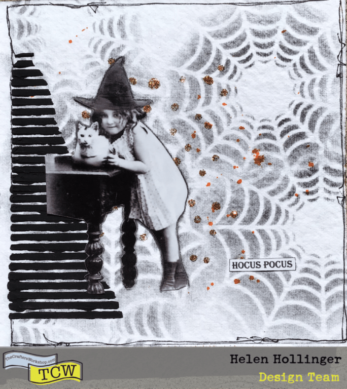 Add a witch image, a sentiment, some orange splatter of orange ink and doodling around the outside edge. Easy peasy!
