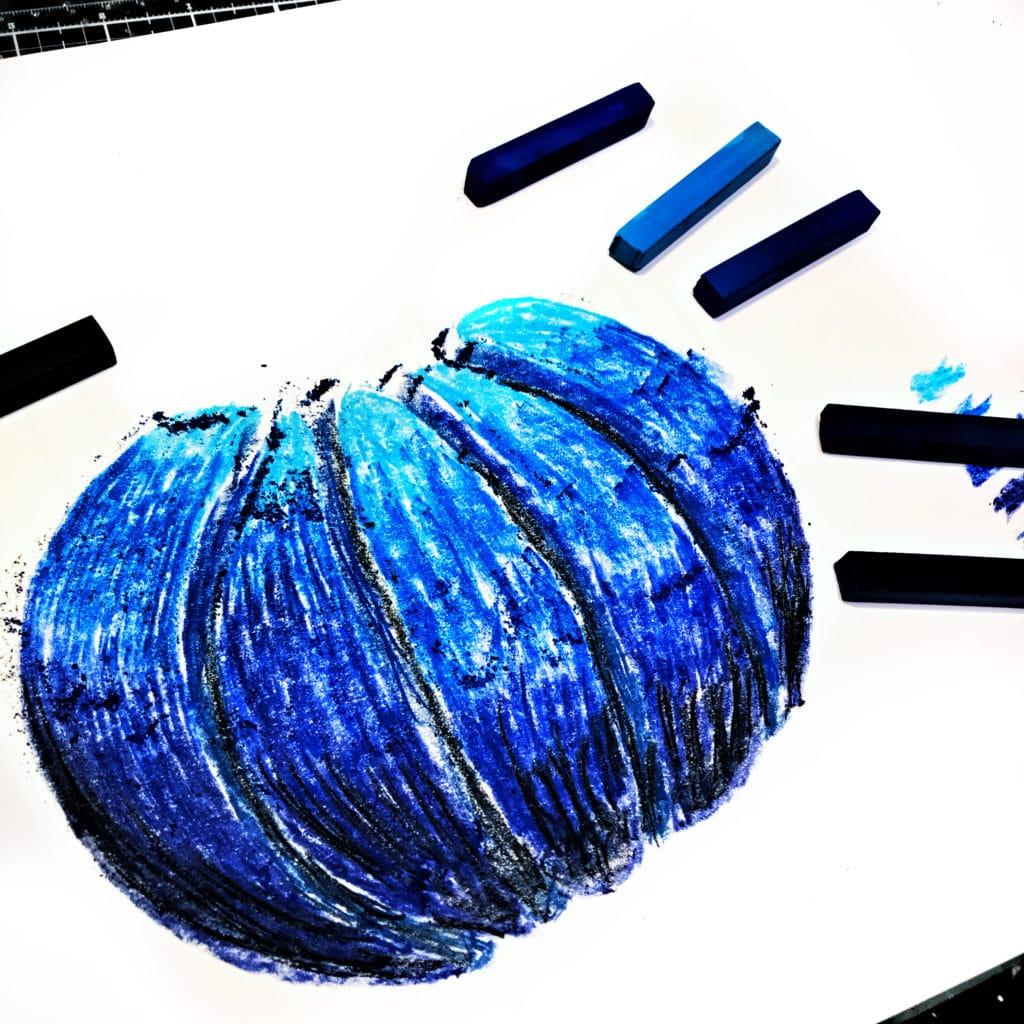 Blue chalk pastels through 12x12 TCW878 Jack-O-Lantern Stencil
