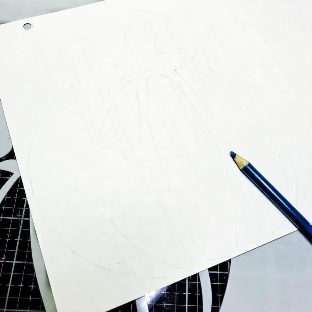 Colored pencil through 12x12 TCW878 Jack-O-Lantern Stencil