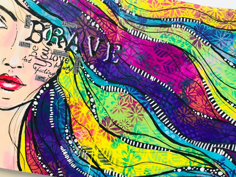 Art Journal page with girl with rainbow hair and stencils and words across her face #tcwstencillove Tammy Klingner