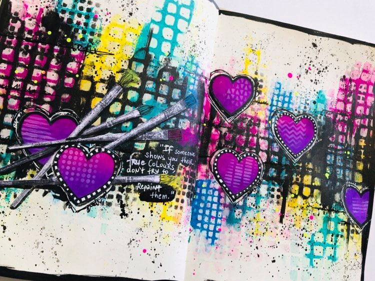 another view of completed art journal page #tcwstencillove Tammy Klingner
