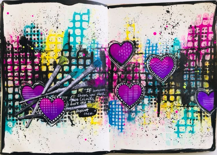 completed art journal page #tcwstencillove Tammy Klingner