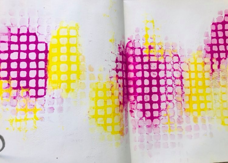 pink and yellow paint with Screen View Stencil