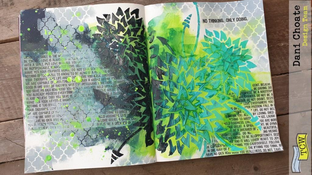 TCW900 - Dahlia Trio journal page TCW5016 Quattrefoil
