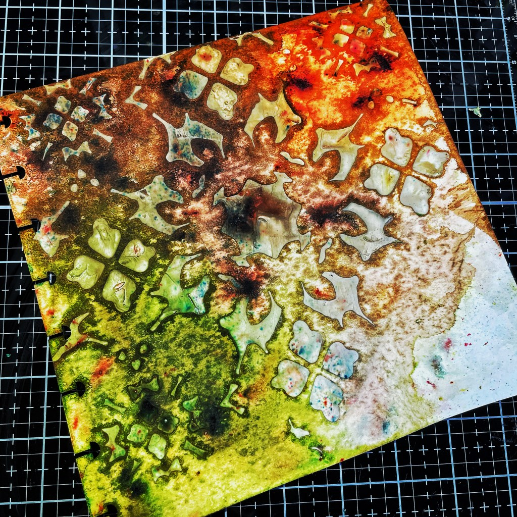 Second layer of Sepia, Olive Green, and Burnt Orange Color Spark Watercolor Powder- wet on page