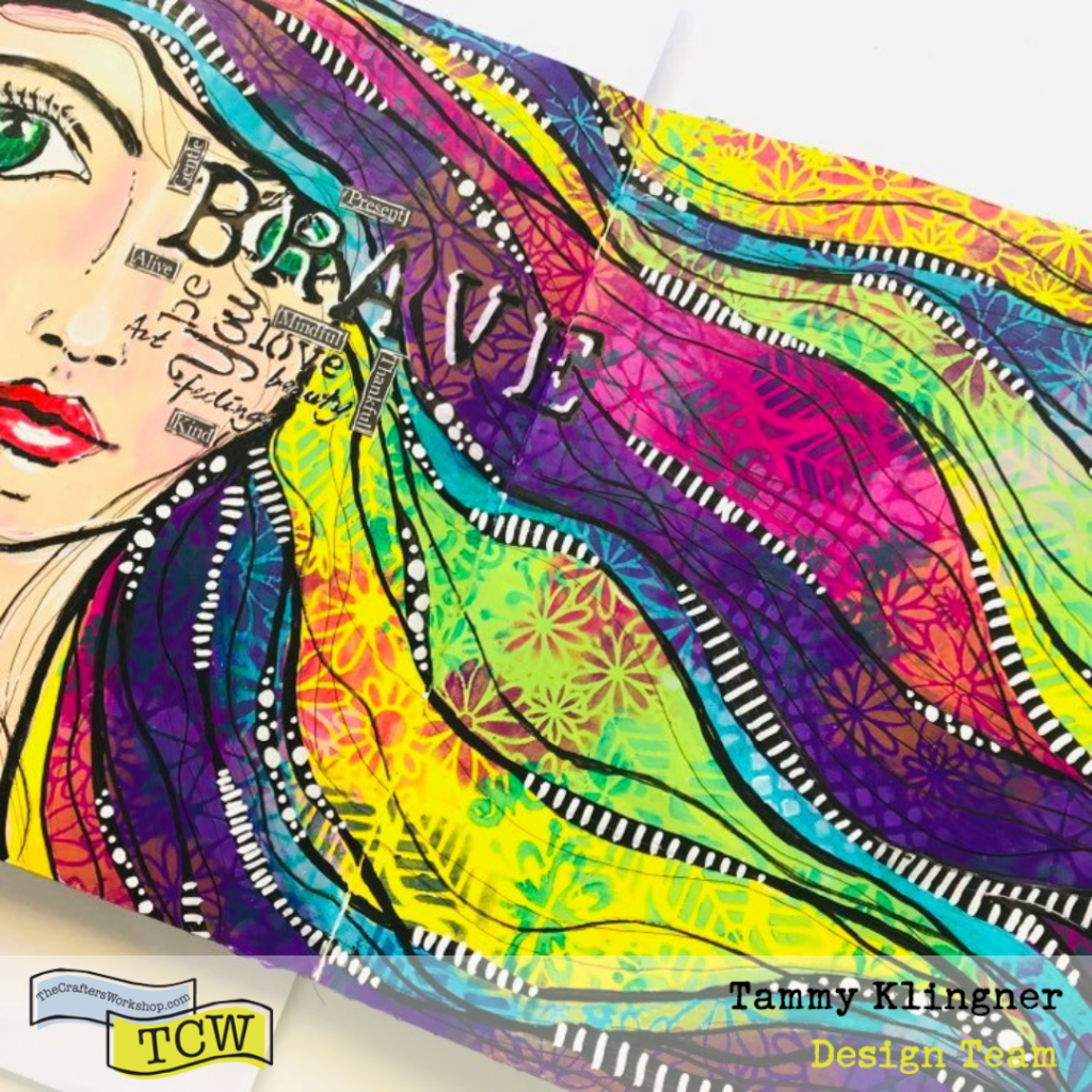 Art Journal page with a girl with rainbow flowing hair and words over half her face Tammy Klingner #tcwstencillove
