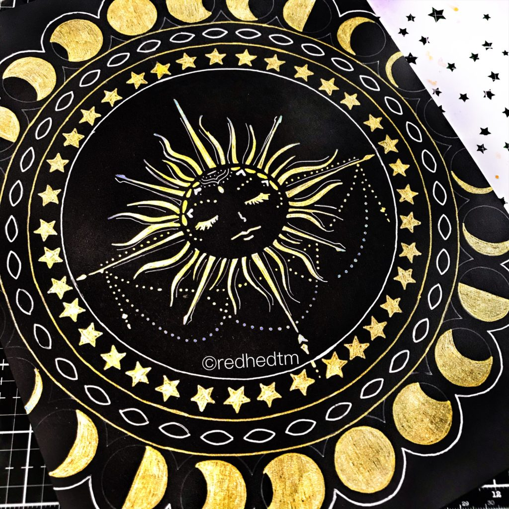 """6x6"""" TCW5004 Star Shower Stencil with gold gel pen on black card stock"""