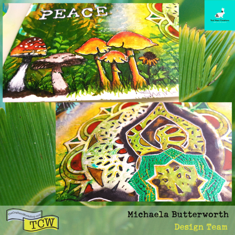 Close up images of hand painted mushrooms, flower, and seated figure with mandala background.