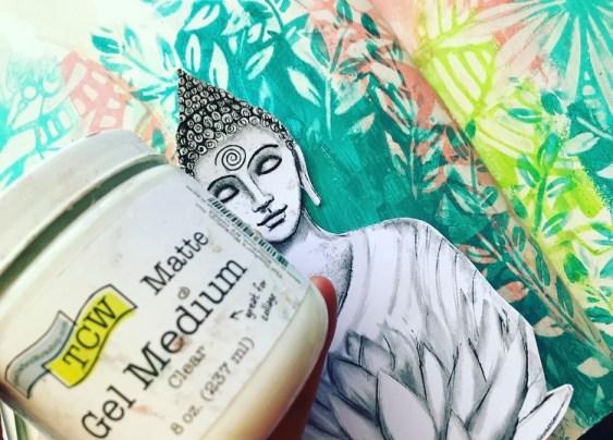 adding a buddha image with matte gel medium