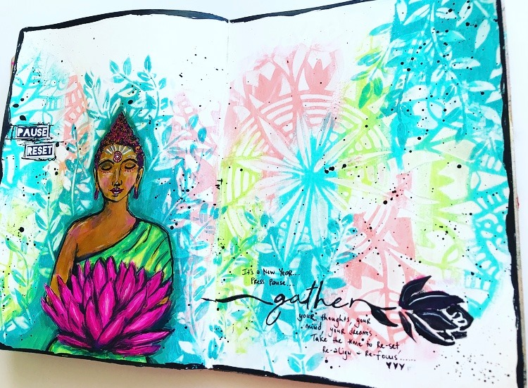 aqua, lime and coral art journal page with buddha holding pink flower