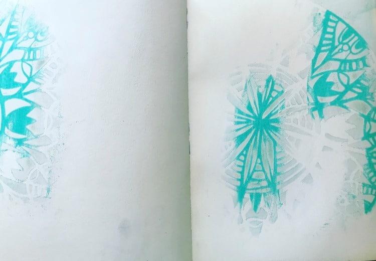 pattern left behind by stencil