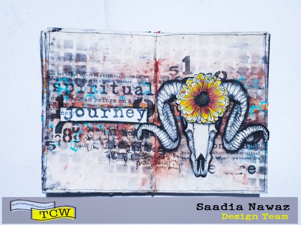 Mix media art journal, acrylic paints and stencils, stamping, inks and texture mediums