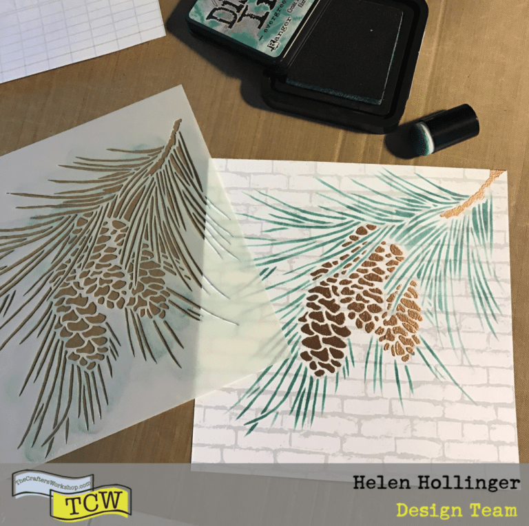Place the Fir Branch stencil back over the embossed pinecones, and use Distress ink in Evergreen Bough to fill in the needles.