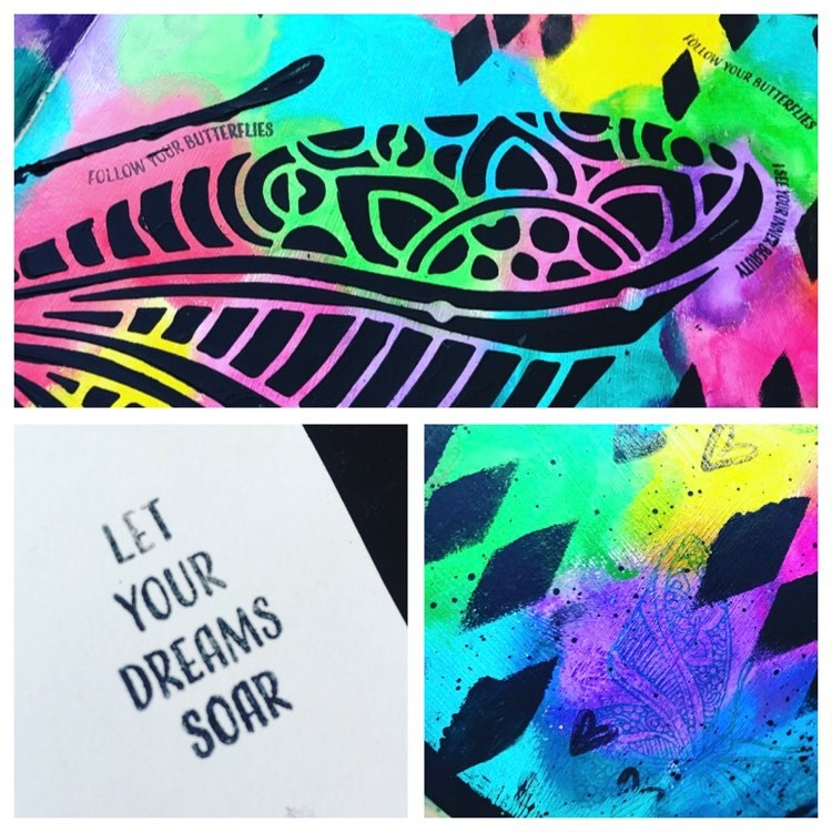 close ups of the stamping in the background of the art journal page