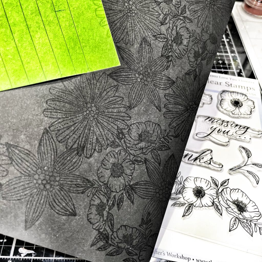 stamped flowers from TCW2202 Love You 4x6 Clear Stamps