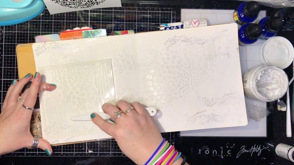 TCW9005 White Modeling Paste through 6x6 TCW361 Tiny Circles Stencil