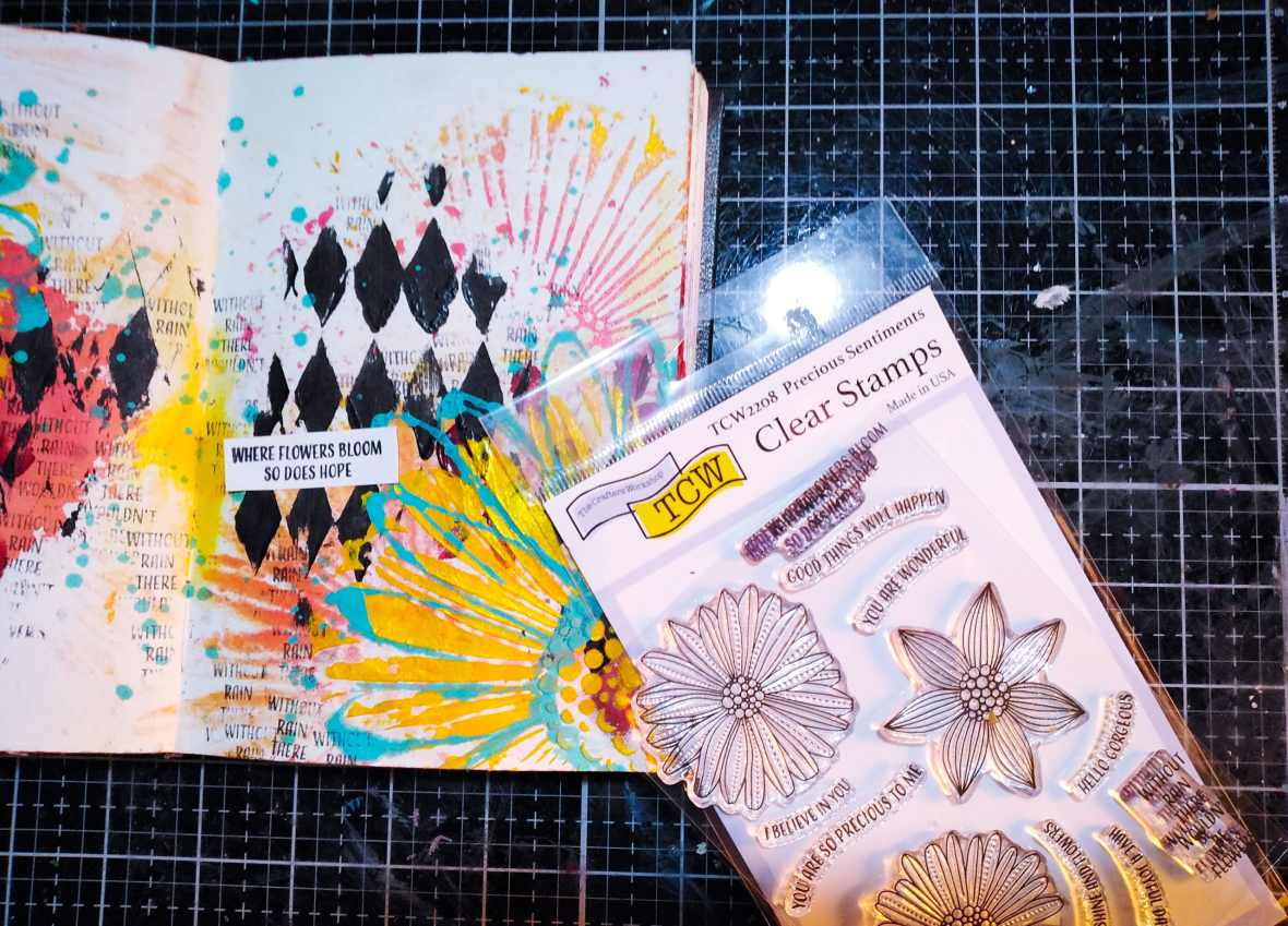 Art journal spread, stamping