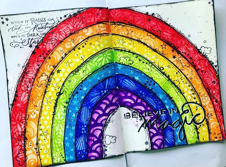 Art Journal page called 'Believe in Magic' - a rainbow with each color featuring a different stencil Tammy Klingner Tambarambaa #tcwstencillove