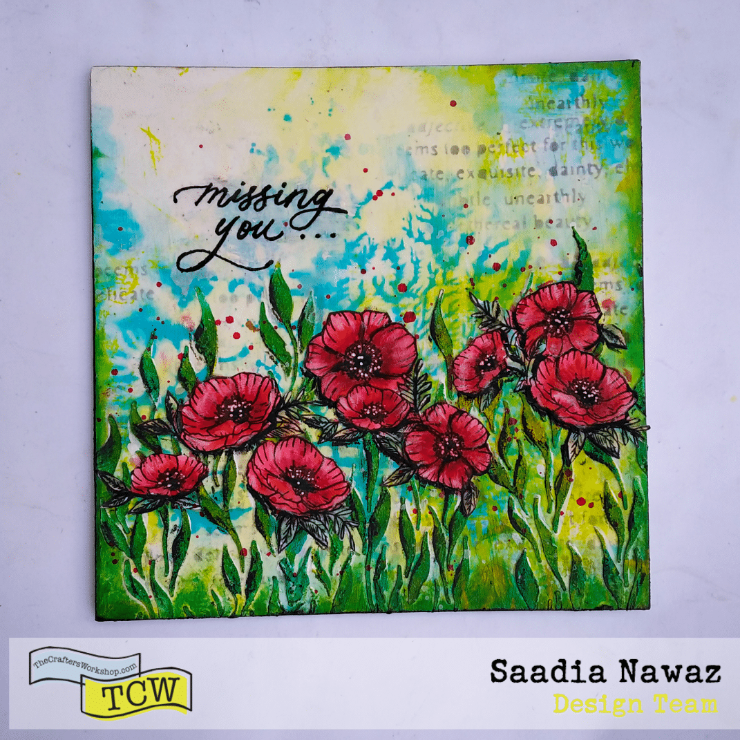 A mixed media project with stencils, stamps, acrylic mediums and inks