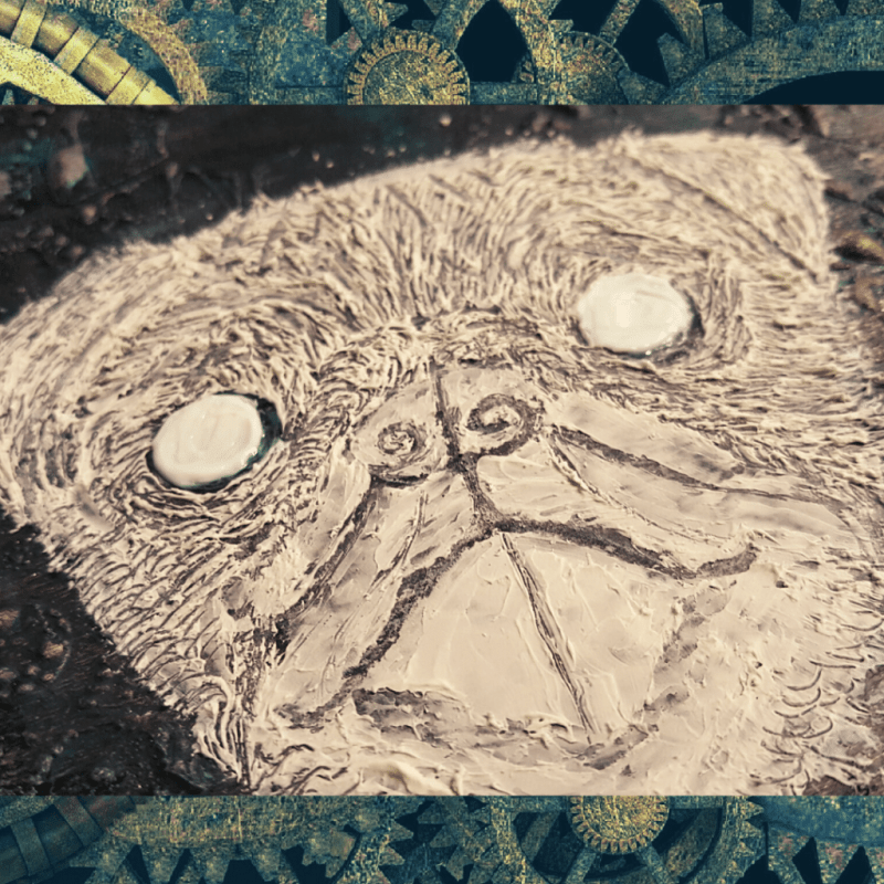 Close up image showing Pugsly's facial features, including hair/fur and eyes.