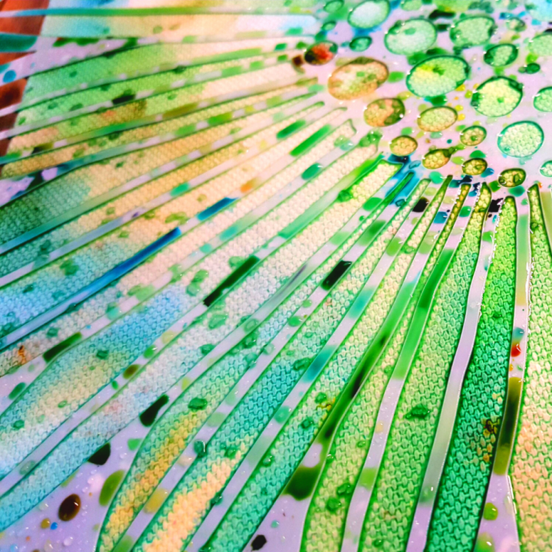 Close up image showing kosher salt sprinkled randomly over the wet TCW929 Felicia Daisy stencil and the ColorSparx watercolor powders activated with water.