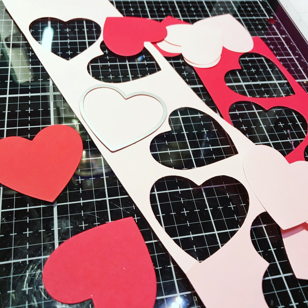 Red and Pale Pink die cut hearts