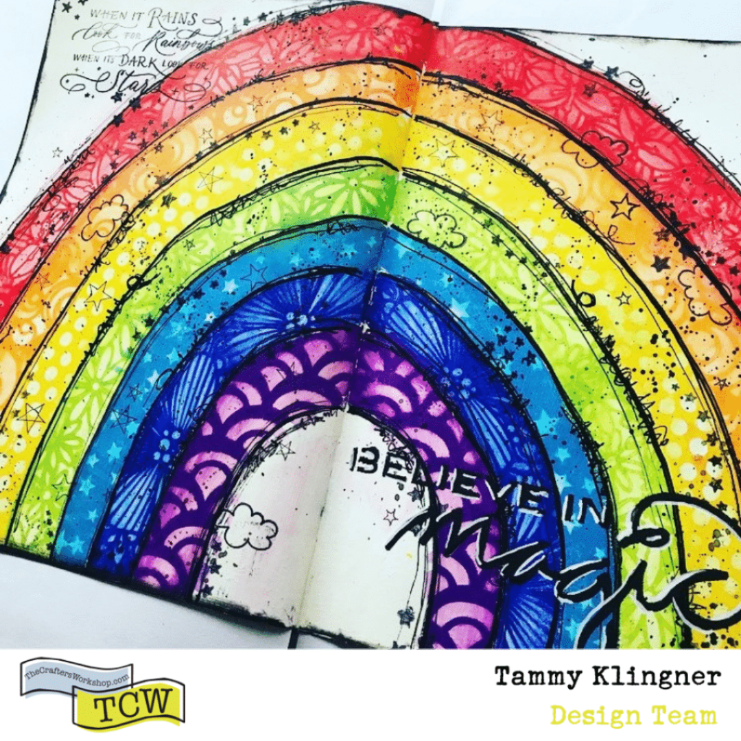 art journal page of a rainbow with lots of stencils in each color #tcwstencillove Tammy Klingner Tambarambaa
