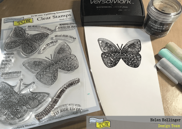 Using TCW2210 Uplifting Sentiments clear stamps, I stamped a butterfly using versamark, and heat embossed this with black embossing powder. Colorize the butterfly using Graphk paint liners. I then fussy cut out the buttrfly.