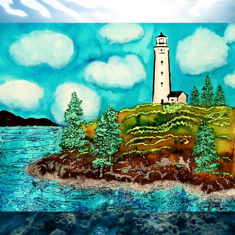 Completed Lighthouse image created using ColorSparx powders as watercolor paints, and stencil butters for the accent colors.