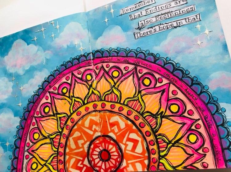 Art Journal page with a sunrise and sky Tammy Klingner Tambarambaa #tcwstencillove