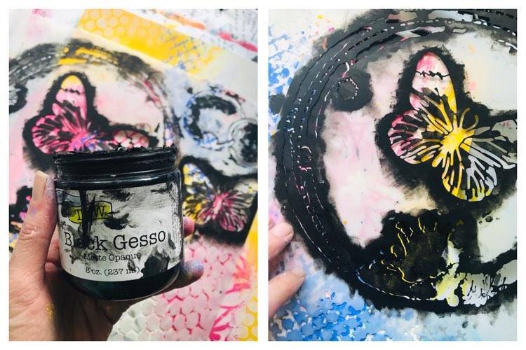 black gesso sponged through stencil to create paint splats