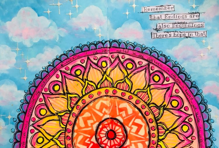 art journal page of a sky and sunrise using a mandala stencil by The Crafter's Workshop. Tammy Klingner Tambarambaa #tcwstencillove