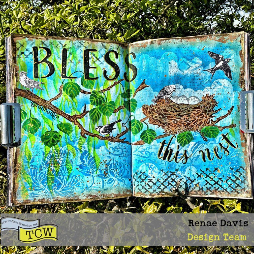 Bless This Nest Art Journal Process by Renae Davis