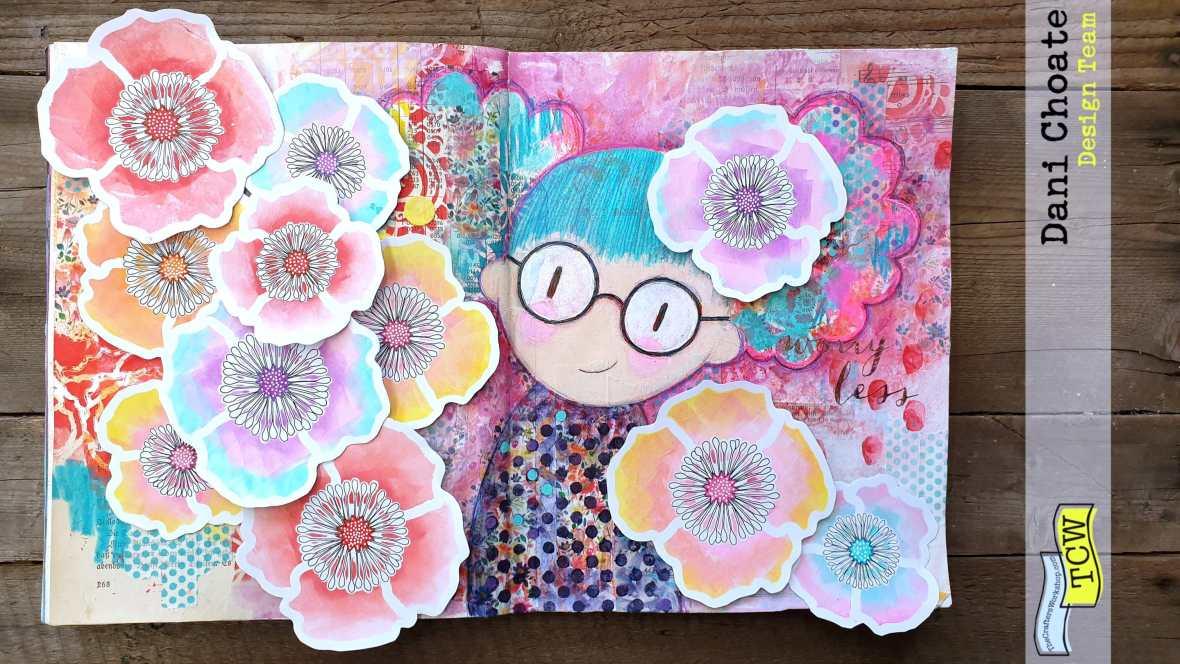 Art Journal Page = TCW601 Poppy Field embellishments