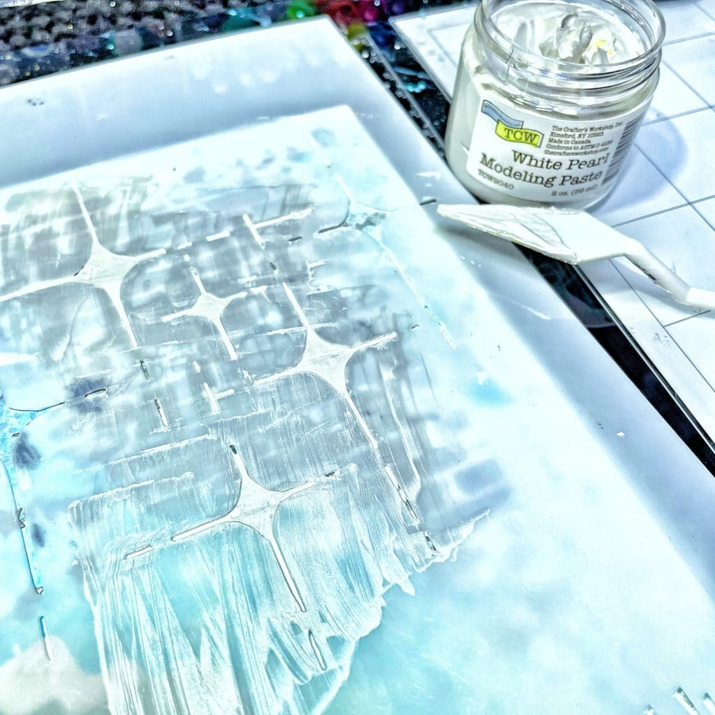 TCW9040 White Pearl Modeling Paste through both 6x6 and 12x12 TCW922 Ethereal Stencil