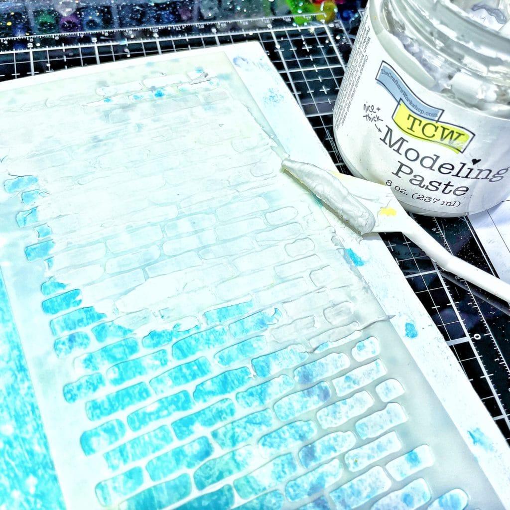 TCW9005 White Modeling Paste through TCW2304 Bricks Vertical Slimline Stencil