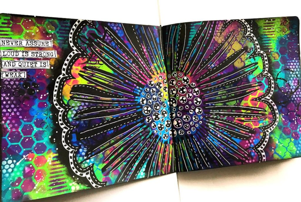 Art Journal page using The Crafter's Workshop stencils Lots of rainbow colors and black and white