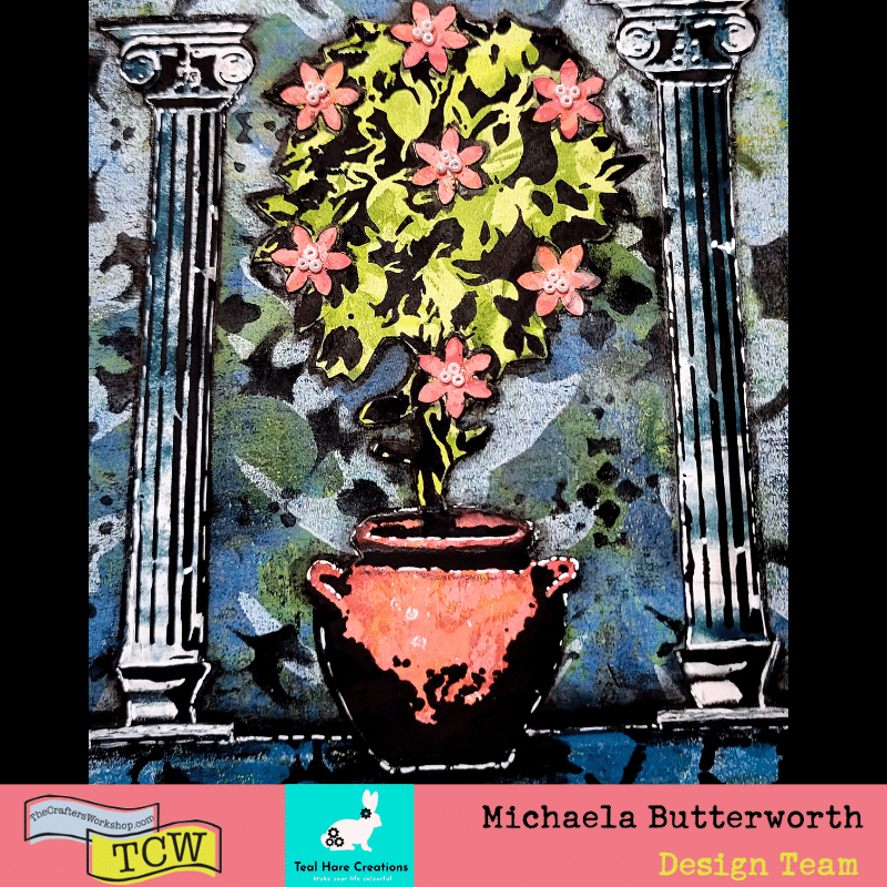 Close up image showing the completed topiary, columns, and pot over the gel printed and stenciled background. The work is completed in muted tones of blues, greens, and reds, with black gesso work. The red flowers have white pearl seed bead centers.