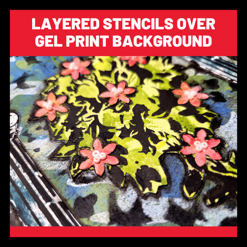 Close up image showing stencil TCW874 Poppy Grid sponged over the background with TCW9002 black gesso, to add depth and interest to the background gel print.