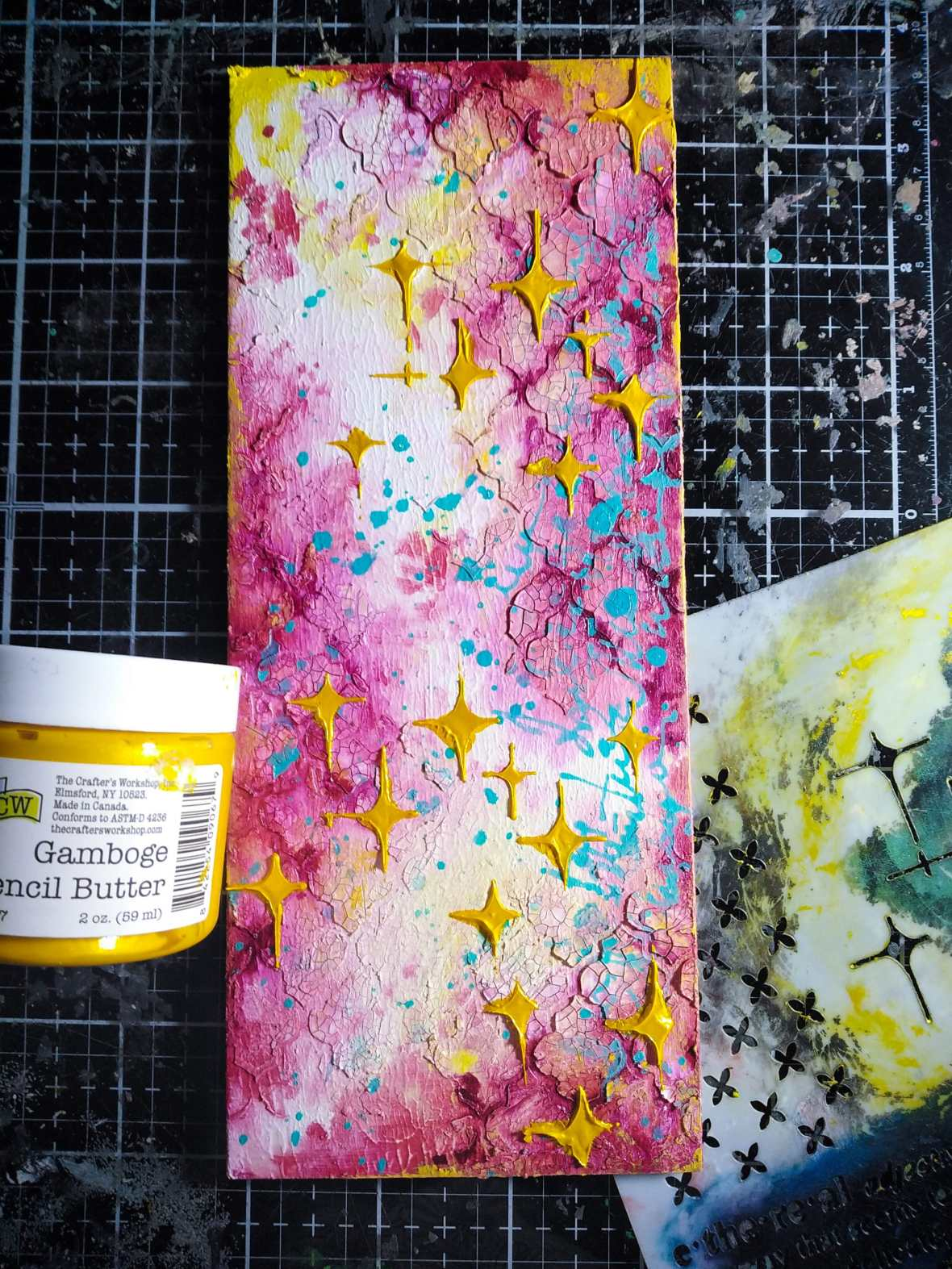 Mixed media project, the Crafter's Workshop stencils, acrylic paints, stencil butter